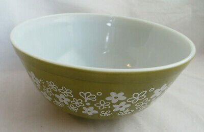 $9.99 • Buy Vintage Pyrex Glass Mixing Bowl Crazy Daisy 2.5 Qt Green White Flowers 403
