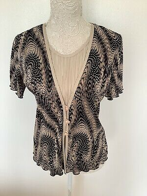 £5.99 • Buy Forever By Michael Gold Ladies Short Sleeve 2 In 1 Crinkle Top Size M