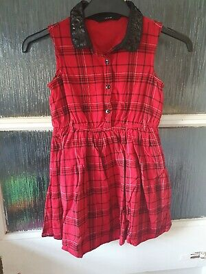 £4 • Buy Girls Red Checked Dress Age 6-7