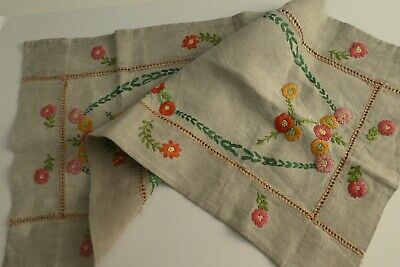 £8.49 • Buy Antique Heavy Duty Irish Linen Table Runner - Hand & Raised Embroidered Florals