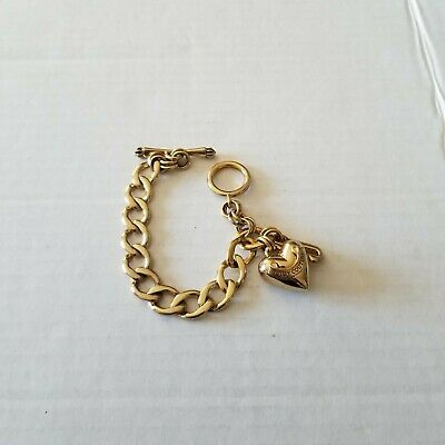 £10.91 • Buy Juicy Couture Gold Toned Chunky Charm Bracelet J & Puffy Banner Heart