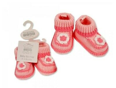 £5.90 • Buy Baby Girls Flower Knitted Booties, Pram Shoes, 0-6 Months, Pink