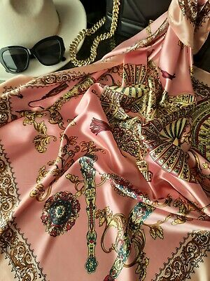 £6.99 • Buy Powder Pink Golden Elements And Red Large Silky Luxury Satin Scarf Shawl