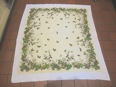 £3 • Buy  Vintage Pretty Cotton Tablecloth. Butterfly And Fruit Pattern