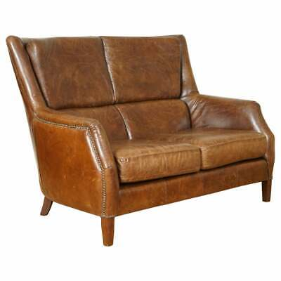 £950 • Buy Stunning Vintage Halo Distressed Brown Leather Two Seater Sofa