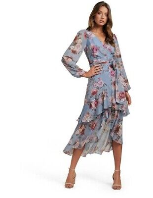 AU25 • Buy Forever New Size 12 Floral Long Sleeve Wrap Dress Blue