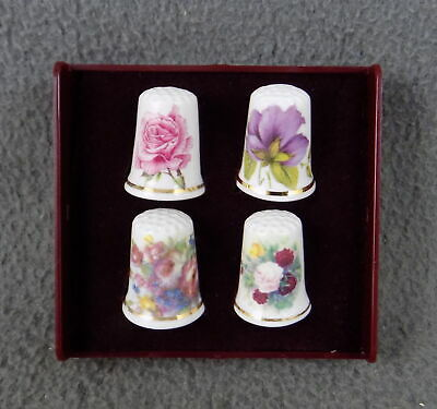 £4.99 • Buy Boxed Set Of Four Bone China Thimbles - New - Assorted Flowers