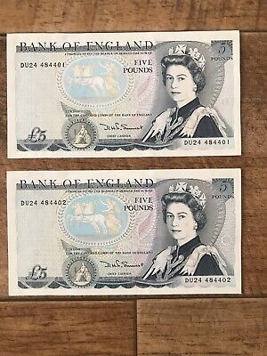 £16 • Buy 2 X Old Five Pound Bank Note £5 Somerset - Wellington. Consecutive. Uncirculated