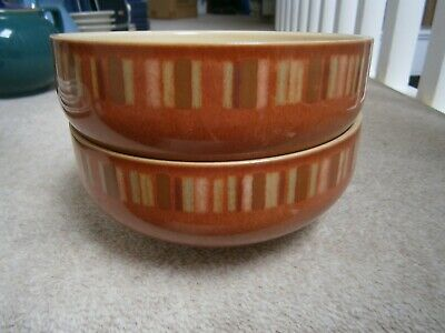 £11.99 • Buy 2 Lovely Stylish Denby Fire Chilli Stripe 6  Cereal Bowls Excellent Barely Used