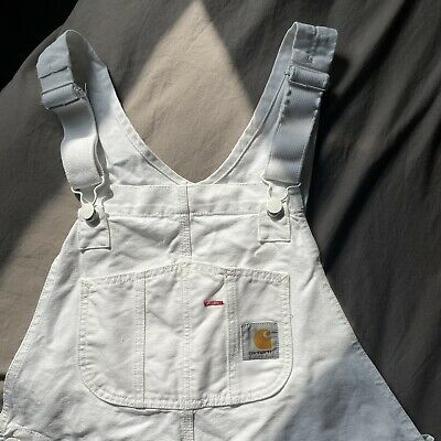 £4.10 • Buy Carrhart Dungarees Overall White Paint 34 X 32