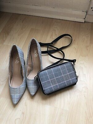 £4.80 • Buy New Shoes  Light Grey Checked Shoes Also Small Bag