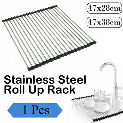 AU15.99 • Buy Foldable Stainless Steel Dish Rack Drying Drainer Over Sink Rack Roll Up Kitchen