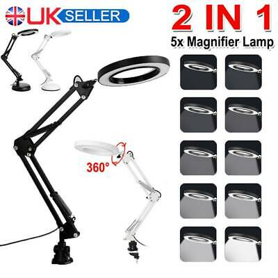£14.99 • Buy 5X Magnifier Glass LED Desk Lamp With Light Stand Clamp Beauty Magnifying Lamp