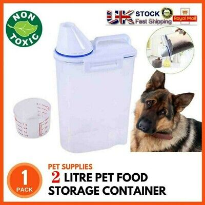 £6.98 • Buy 2KG Pet Food Dry Feed Container Pet Dog Cat Food Storage Containers W/ Cup UK
