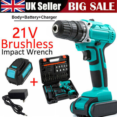 £37.99 • Buy 21V Drill Impact Wrench Brushless Cordless Replacement With Charger + Battery UK