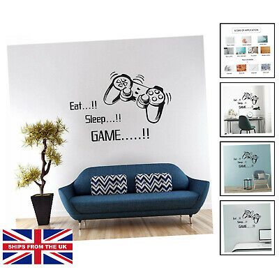 £10.25 • Buy Gaming Accessories Wall Stickers For Bedrooms For Boys, EAT Sleep Game...