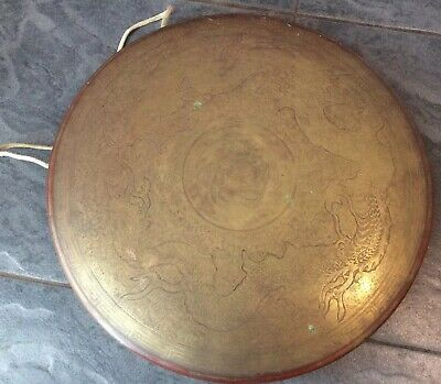 £4.99 • Buy Antique Brass Chinese Gong With Engraved Dragon Decoration 14.5 Inches