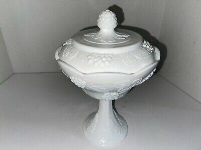 $18 • Buy INDIANA White Milk Glass Grape Harvest Footed Covered Compote Lid Candy Dish