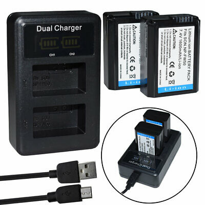 $ CDN28.07 • Buy 2X NP-FW50 Battery &LCD Dual USB Charger For Sony Alpha A6000 A6300 A6500 A7r A7