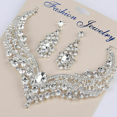 £4.72 • Buy Women Bridal Wedding Cut Crystal Cubic Necklace Earrings Jewelry Set Prom Party