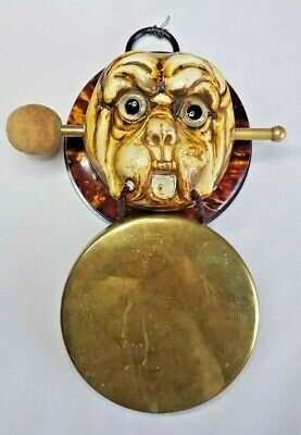 £25 • Buy Antique Vintage Brass Gong Featuring A Dogs Head 11.5 Cm Diameter Gong.
