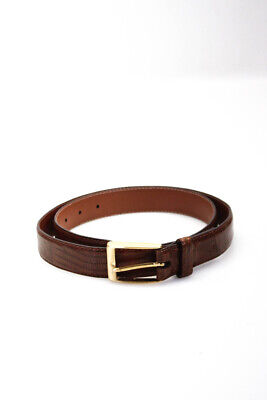 $89.99 • Buy Di Stefano Mens Caiman Crocodile Leather Gold Tone Buckle Belt Brown Size 34