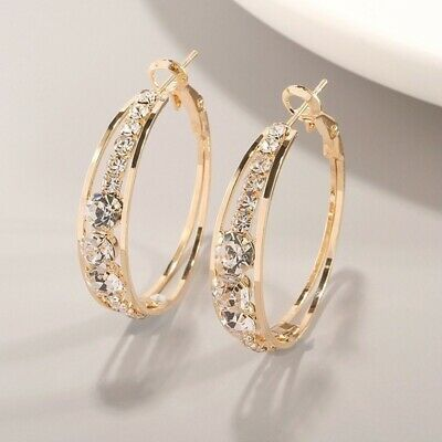 AU8.99 • Buy 18k Yellow Gold Plated Made With Crystal Grid Stud Huggie Earrings SimpleClassic