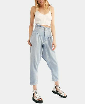 £30.28 • Buy Free People Womens Blue Size 2 Button Fly Cropped Denim Harem Jeans $128 #543