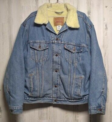 $49.99 • Buy Levis Mens XL Denim Sherpa Jacket 70520-0315 Blue Relaxed Trucker Never Washed