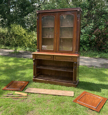 £249 • Buy Antique Glass Fronted Linen Press Dresser Storage Carved Bookcase Mahogany
