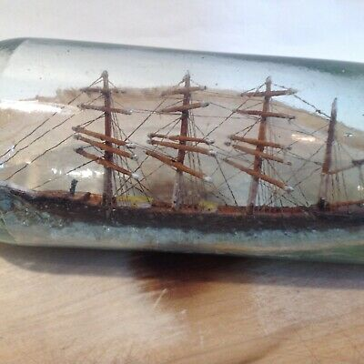 £40 • Buy Antique Vintage, Ship In Bottle, Naive Sailing Ship With Cork Stopper.