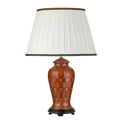 £264.99 • Buy Table Lamp Ivory With Black And Gold Trim Shade Terracotta LED E27 60W Bulb