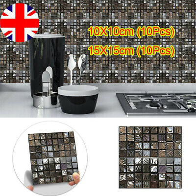 £4.49 • Buy 10X Mosaic Tile Stickers Stick On Bathroom Kitchen Home Wall Decal Self-adhesive