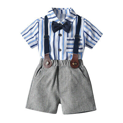 £10.99 • Buy Toddler Baby Boy Gentleman Bow Tie Striped T-Shirt Tops+Suspender Shorts Outfits