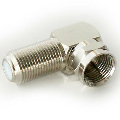 £4.29 • Buy 2x 90 Degree F Type Screw Connector Adapter Sat Coax Right Angled Plug To Socket