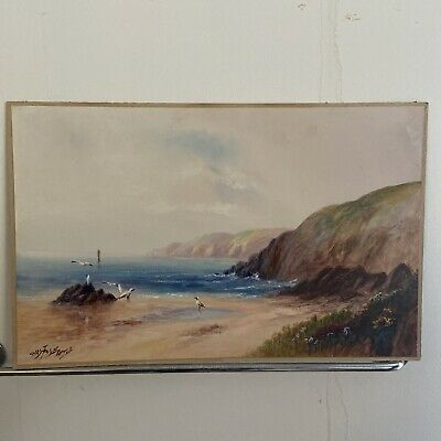 £27 • Buy Vintage Watercolour Painting Coastal Scene With Gulls Signed Sea Beach