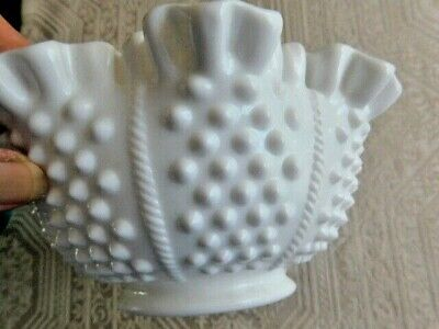 $15 • Buy Fenton Milk Glass Hobnail With Rope 8  Bowl Ruffled & Crimped Rim