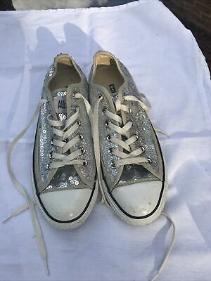 £20 • Buy Converse All Star Size 5 Silver Sequin Trainers / Sneakers Worn Once
