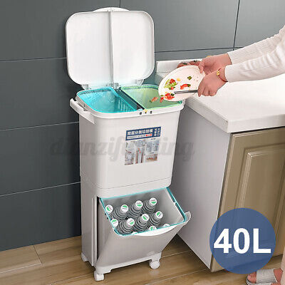 £40.50 • Buy Kitchen Trash Bin Plastic Recycling Waste Bin 3 Compartment Can With Wheels 40L