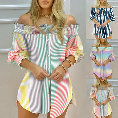 £6.83 • Buy Womens Off Shoulder Loose Shirts Blouse Ladies 3/4 Sleeve Casual Tunic Tops UK
