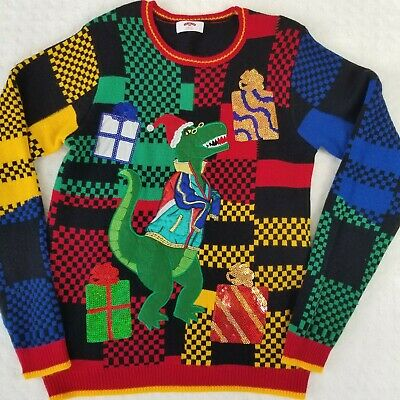 $24.99 • Buy Holiday Time Alligator Sequence Christmas Colorful Sweater Size Medium (38-40)