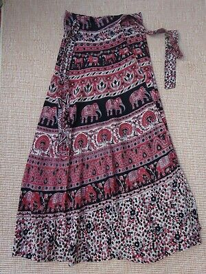 £3.50 • Buy  Vintage India Wrap Skirt Tie Waist Long Length One Size Approx Size 8 Black/Red