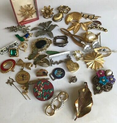 £6.99 • Buy Mixed Lot Of Brooches Scarf Clips Pins Stick Pins Vintage Mostly Wearable