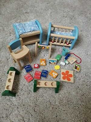 £7.99 • Buy Wooden Dolls House Family Miniature Baby High Chair Bed Accessories Kids Toys