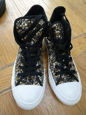 £0.99 • Buy CONVERSE ALL STAR Ladies / Older Girls Gold Silver Sequin Boots Trainers UK 4