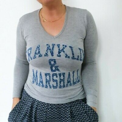 £2.99 • Buy Franklin & Marshall Stretch V Neck Grey Spell Out Long Sleeve Top T Shirt XXL