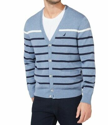 $16.99 • Buy Nautica Mens Sweater Blue Size Large L Cardigan Striped Button Down $89 #108