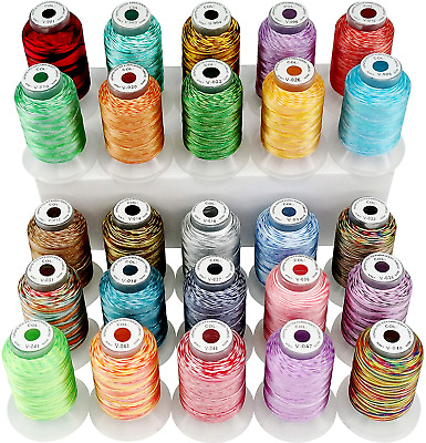 $33.99 • Buy New Brothread 25 Colors Variegated Polyester Embroidery Machine Thread Kit 500M