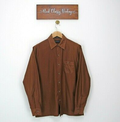 £15 • Buy Corduroy Shirt Mens Button Up Collared Long Sleeve Size L Large