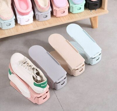 AU12.34 • Buy Integrated Two Sided Shoe Storage Rack For Small Spaces Adjustable Plastic Made